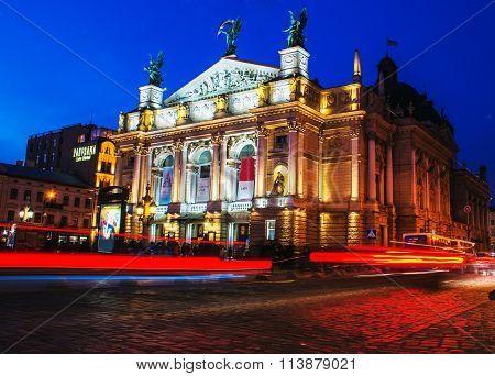 Nigh Lviv city scene