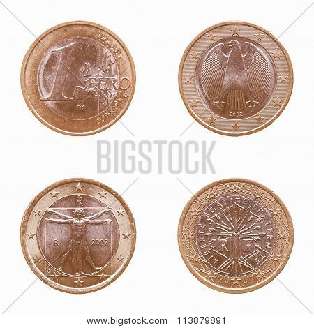 Euro Coins Isolated Vintage