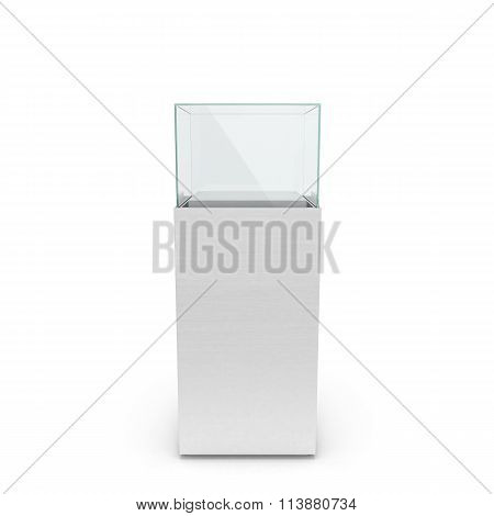 Empty White Showcase With Pedestal. 3D Illustration Isolated On White Background