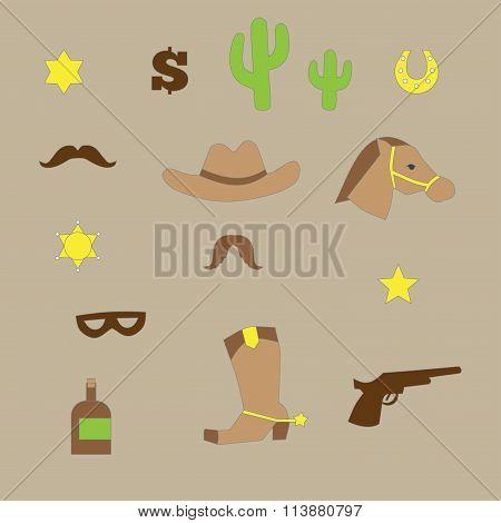 Set Of Vintage Cowboy Icons
