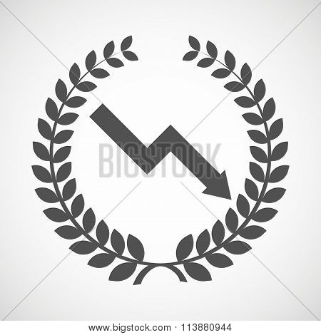 Isolated Laurel Wreath Icon With A Descending Graph