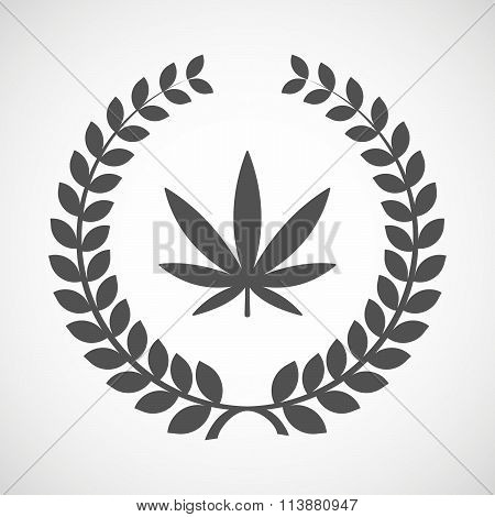 Isolated Laurel Wreath Icon With A Marijuana Leaf