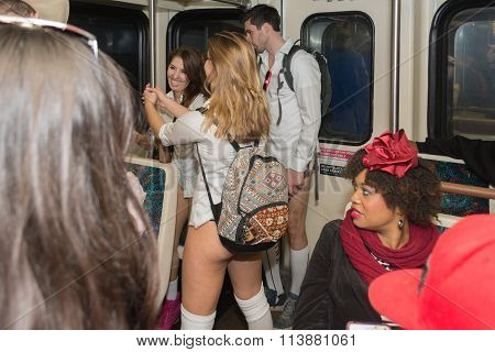 Woman On The Metro Station Without Pants