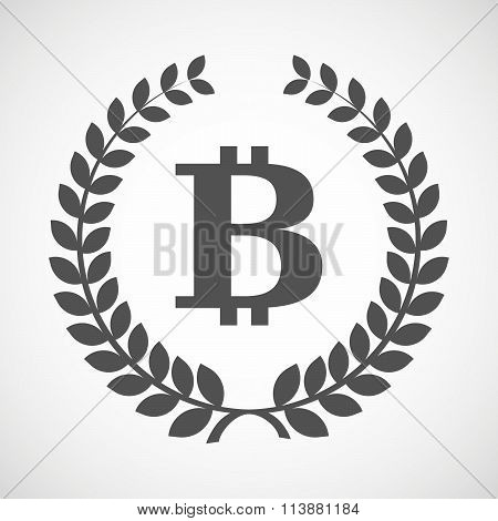 Isolated Laurel Wreath Icon With A Bit Coin Sign