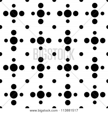Black and white cross polka dot seamless pattern