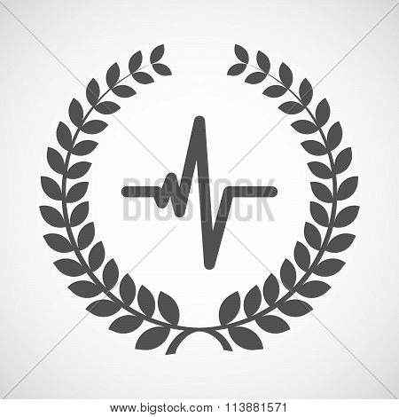 Isolated Laurel Wreath Icon With A Heart Beat Sign