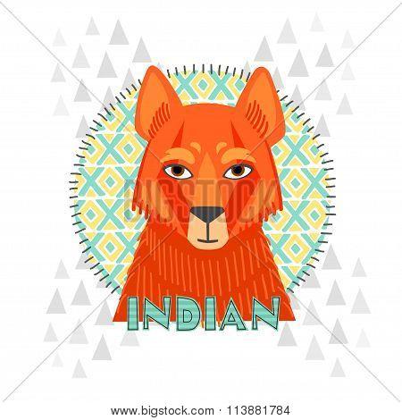 American Indians jackal vector illustration