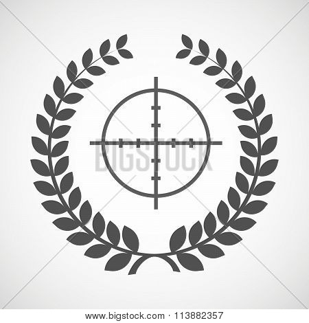 Isolated Laurel Wreath Icon With A Crosshair