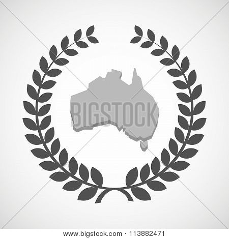 Isolated Laurel Wreath Icon With  A Map Of Australia