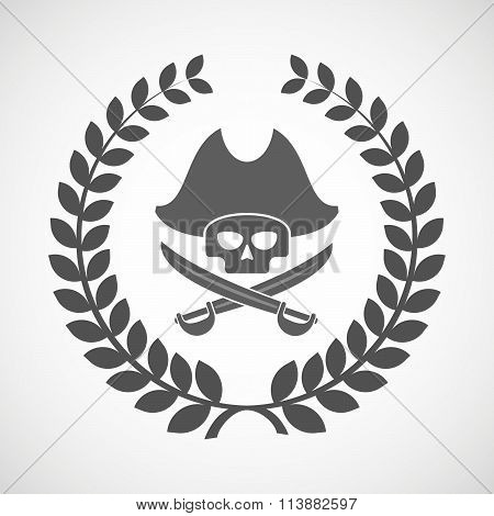 Isolated Laurel Wreath Icon With A Pirate Skull