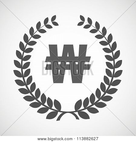 Isolated Laurel Wreath Icon With A Won Currency Sign