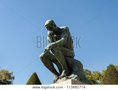 PARIS, FRANCE - SEPTEMBER 11, 2014:The Thinker in Rodin Museum in Paris