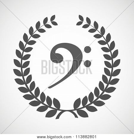 Isolated Laurel Wreath Icon With An F Clef