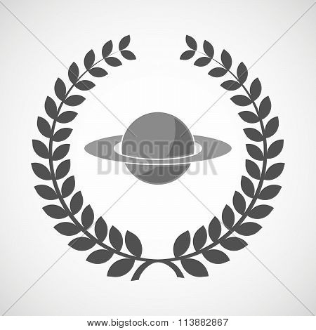 Isolated Laurel Wreath Icon With The Planet Saturn