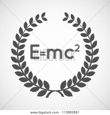 Isolated Laurel Wreath Icon With The Theory Of Relativity Formula