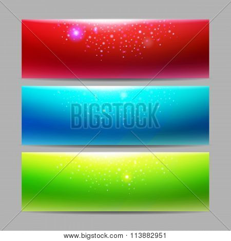 Modern set of vector banners with majic lights