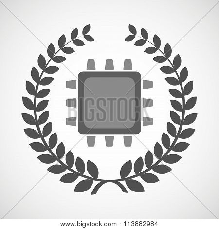 Isolated Laurel Wreath Icon With A Cpu