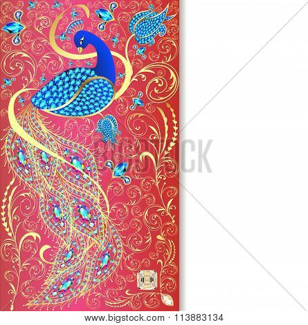 illustration background with peacock with gold ornament and prec