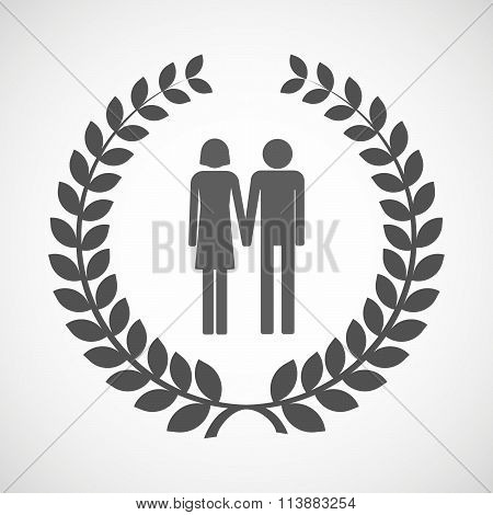 Isolated Laurel Wreath Icon With A Heterosexual Couple Pictogram