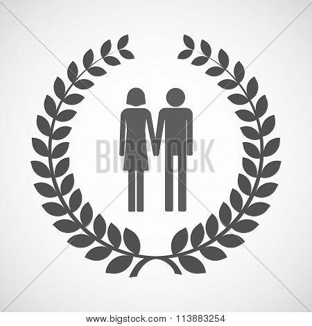 Isolated Laurel Wreath Icon With A Heterosexual Couple Pictogram