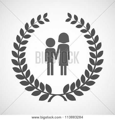 Isolated Laurel Wreath Icon With A Childhood Pictogram