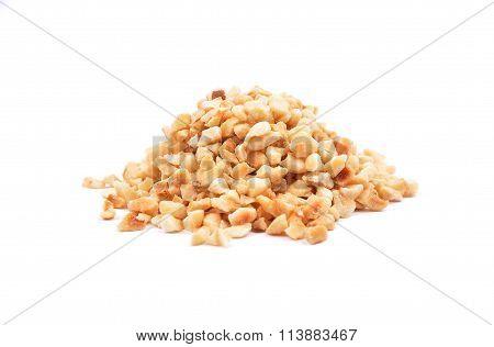 Minced Hazelnuts On White