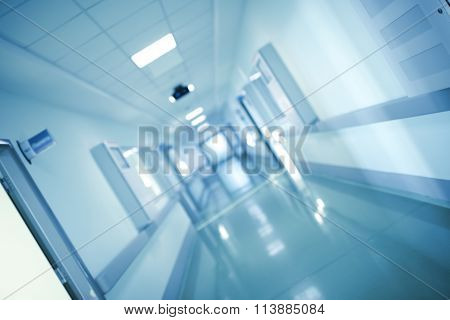 Long Corridor Of Official Agency, Blurred Background