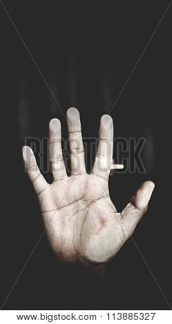 Men's Palm Pressed To The Glass, The Metaphor Of Despair