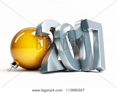 Happy New Year 2017 3D Illustrations On A White Background