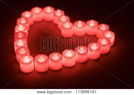 Heart Shape Made From Red Led Candles