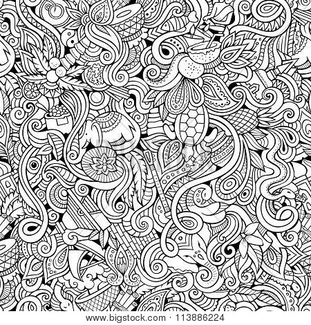 Cartoon hand-drawn doodles on the subject of Indian style theme seamless pattern