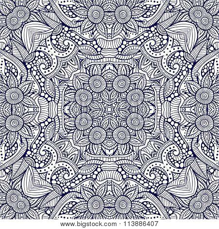 Abstract vector decorative ethnic hand drawn sketchy contour sea