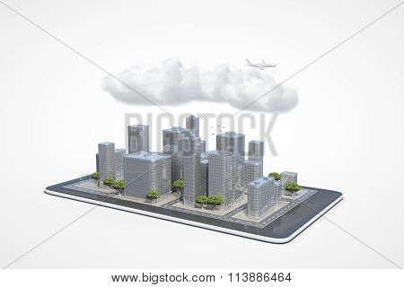 Plan Of The Urban Area In The Cell Phone With Clouds