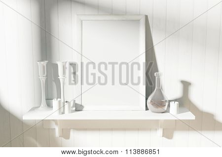 Blank White Picture Frame With Candlesticks And Decanter On White Wooden Shelf, Mock Up