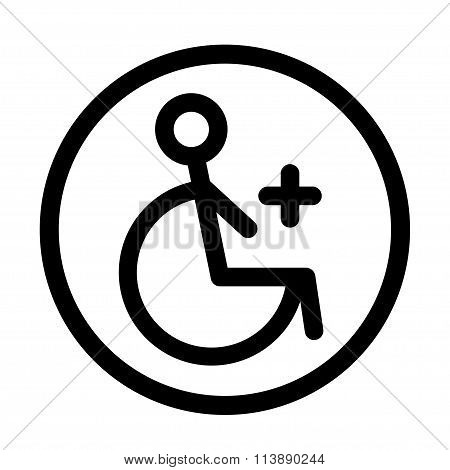 Disabled Handicap Linear Icon. Vector Illustration