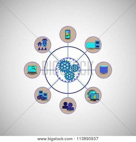Concept Of System Connectivity, Employees, Users Connecting Various Enterprise Application Systems