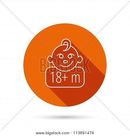 Baby face icon. Newborn child sign.