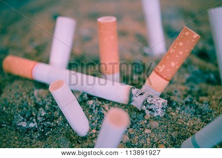 Cigarette Burning In Ashtray , Vintage Style