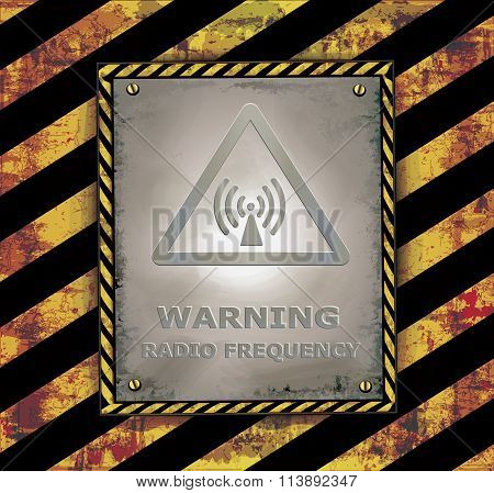 blackboard sign caution banner warning radio frequency vector