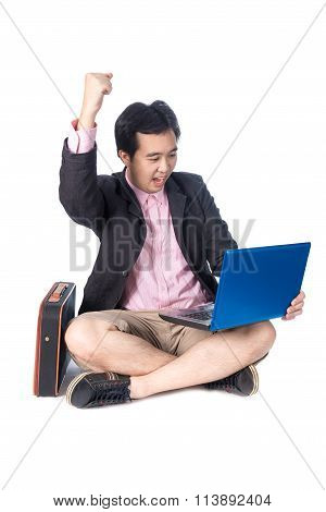 Success Asian Businessman Rejoicing With Laptop, Isolated On White Background