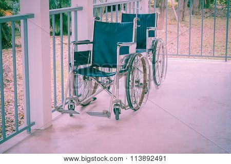 Wheelchair Empty In Hospital , Vintage Style