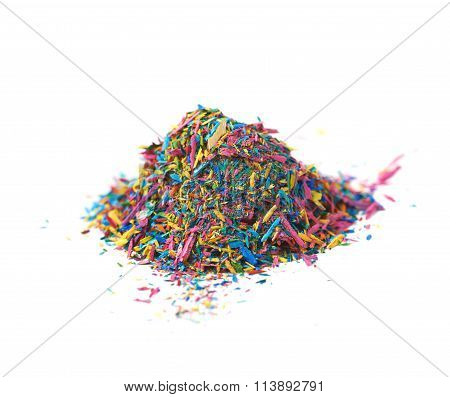 Pile of pencil's graphite chips shavings isolated