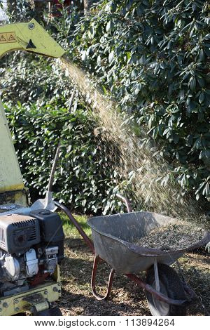 Motor Wood Chipper Standing In The Park Working And Vibrating