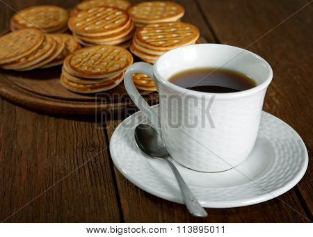 Tea And Cookies On A Rustic Table