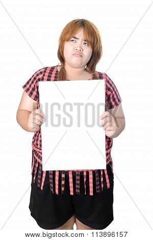 Asian Plump Woman Standing With Empty Vertical Blank Paper In Hands, Isolated On White Background.