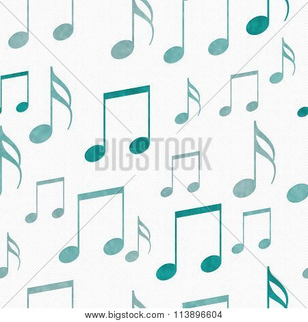 Teal And White Music Notes Tile Pattern Repeat Background