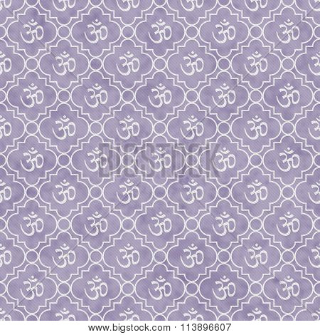 Purple And White Aum Hindu Symbol Tile Pattern Repeat Background