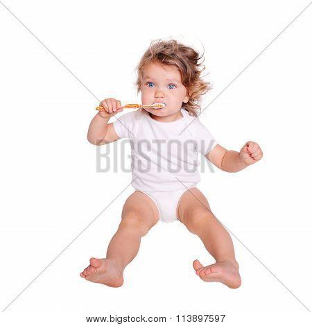 Baby Toddler Brushing Teeth.