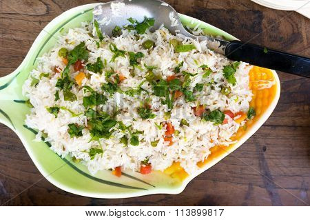 Indian vegetable pulao dish with rice and vegetables