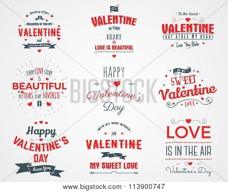 Vector photo overlays, hand drawn lettering collection, inspirational quote. Valentine day labels se